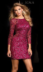 Sequin Open Back Scala Homecoming Dress