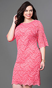 Image of plus-size knee-length lace party dress with sleeves. Style: SF-8795P Front Image