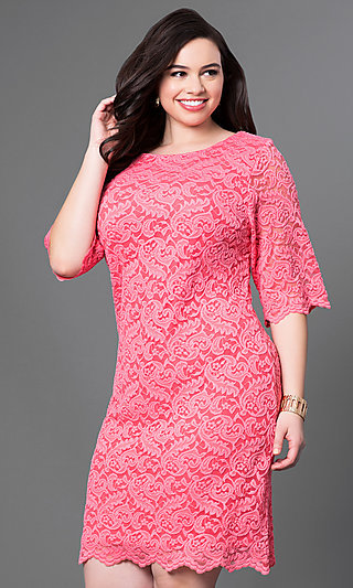 Plus-Size Knee-Length Lace Party Dress with Sleeves