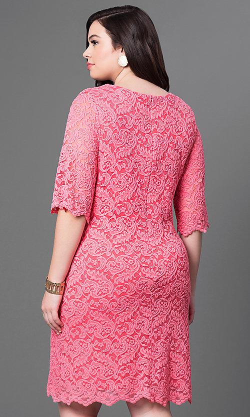 Image of plus-size knee-length lace party dress with sleeves. Style: SF-8795P Back Image