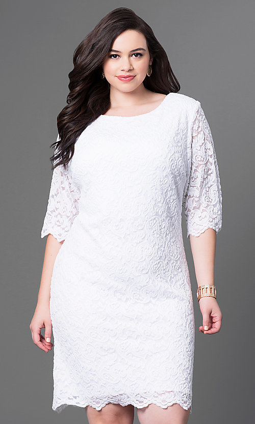 Image of plus-size knee-length lace party dress with sleeves. Style: SF-8795P Detail Image 1