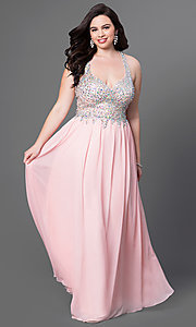 Image of long illusion plus-size prom dress with racerback. Style: DQ-8998P Front Image