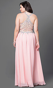 Image of long illusion plus-size prom dress with racerback. Style: DQ-8998P Back Image