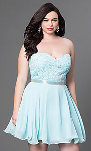 Plus Size Strapless Short Dress