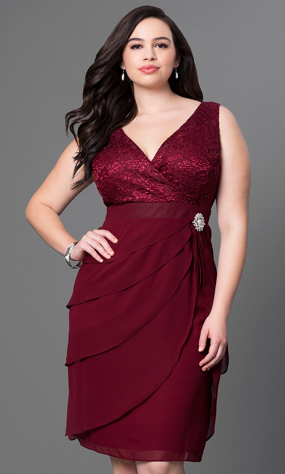Burgundy Red Plus-Size Knee-Length Dress - PromGirl