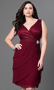 Image of burgundy knee-length plus dress with empire waist. Style: SF-8723Pb Front Image