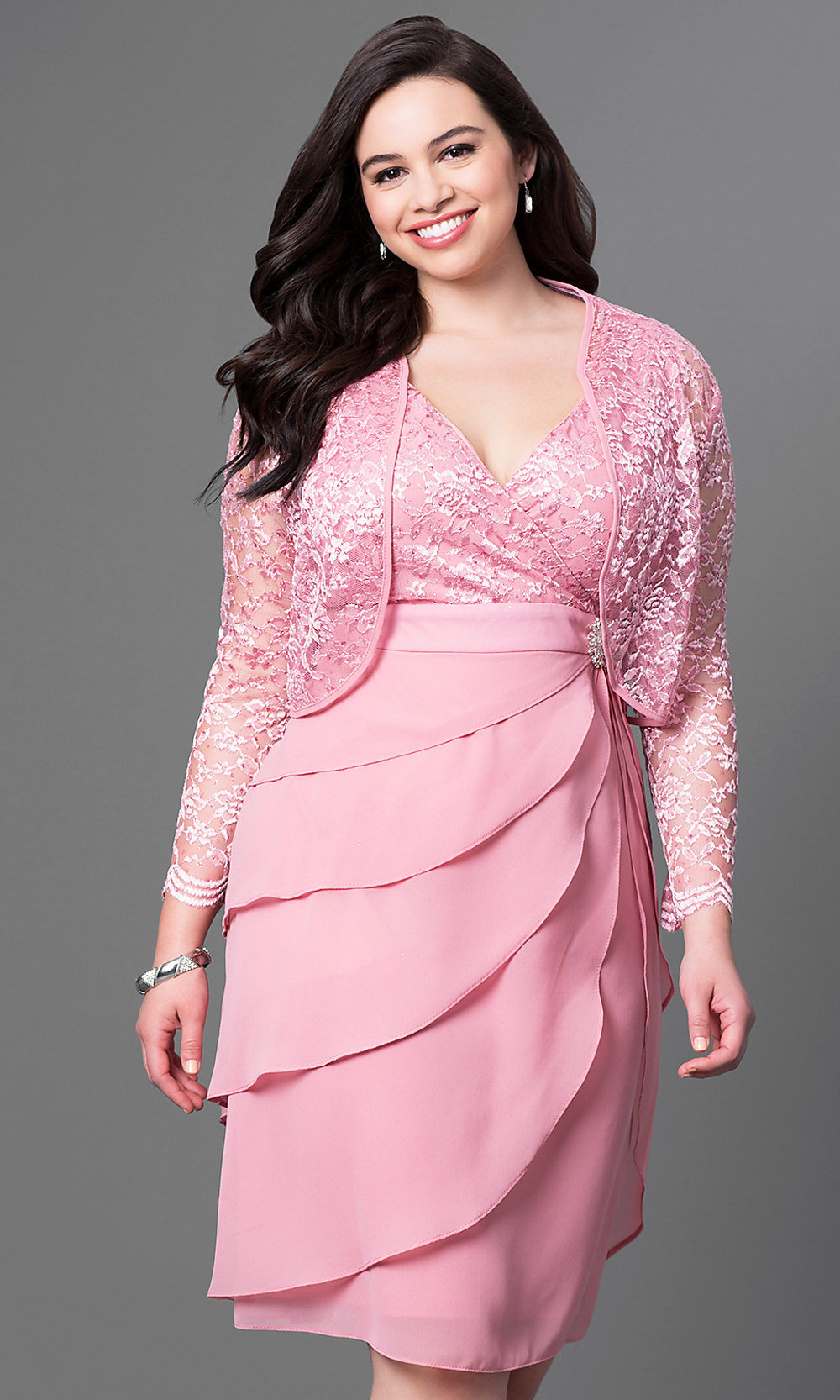 Rose Pink Knee-Length Plus-Size Party Dress-PromGirl