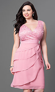 Image of plus-size semi-formal party dress in rose pink. Style: SF-8723Pr Front Image