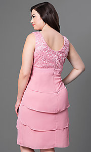 Image of plus-size semi-formal party dress in rose pink. Style: SF-8723Pr Back Image