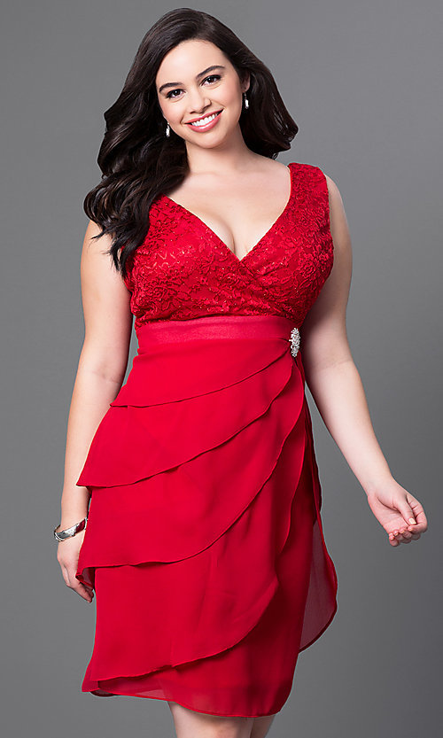 Image of plus-size semi-formal party dress in rose pink. Style: SF-8723Pr Detail Image 3