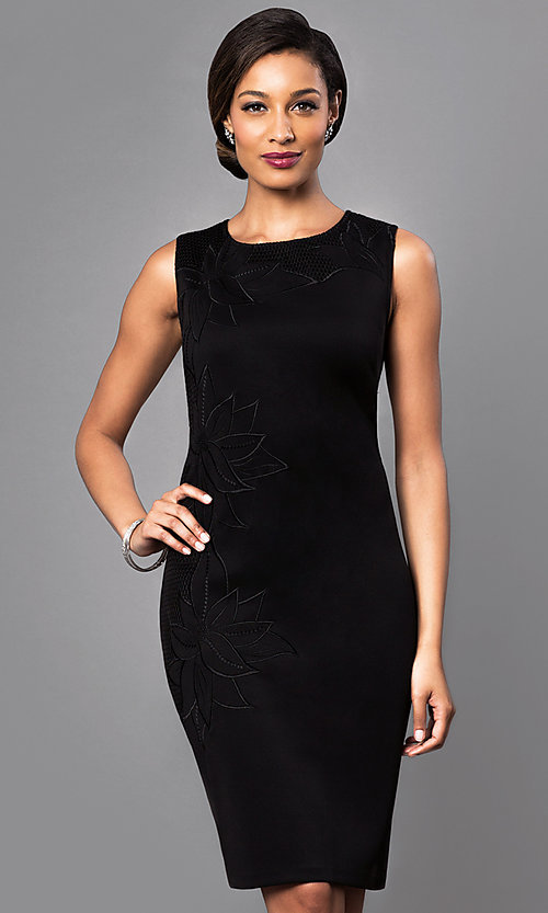 Image of black sleeveless dress with floral-print design. Style: IT-118345 Front Image