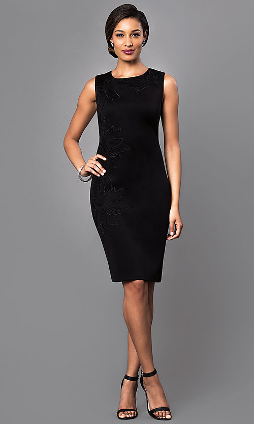 Image of black sleeveless dress with floral-print design. Style: IT-118345 Detail Image 1