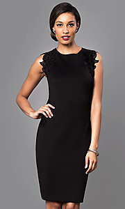 Image of knee-length black party dress with lace applique. Style: IT-118785 Front Image
