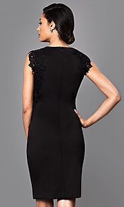 Image of knee-length black party dress with lace applique. Style: IT-118785 Back Image