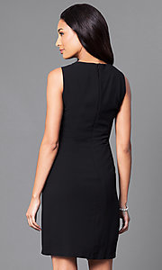 Image of black sleeveless party dress with rhinestone accents. Style: IT-195036 Back Image