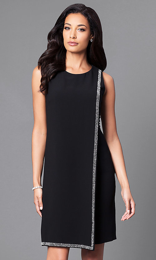 Image of black sleeveless party dress with rhinestone accents. Style: IT-195036 Front Image
