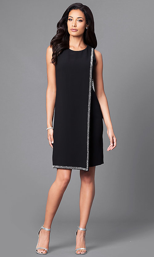 Image of black sleeveless party dress with rhinestone accents. Style: IT-195036 Detail Image 1