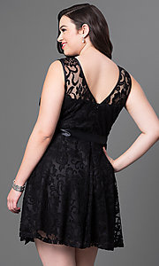 Image of lace plus-size sleeveless party dress with bow. Style: SF-8760P Back Image
