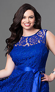 Image of lace plus-size sleeveless party dress with bow. Style: SF-8760P Detail Image 1
