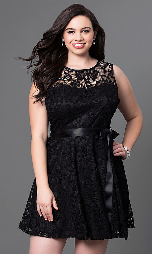 Image of lace plus-size sleeveless party dress with bow. Style: SF-8760P Detail Image 2
