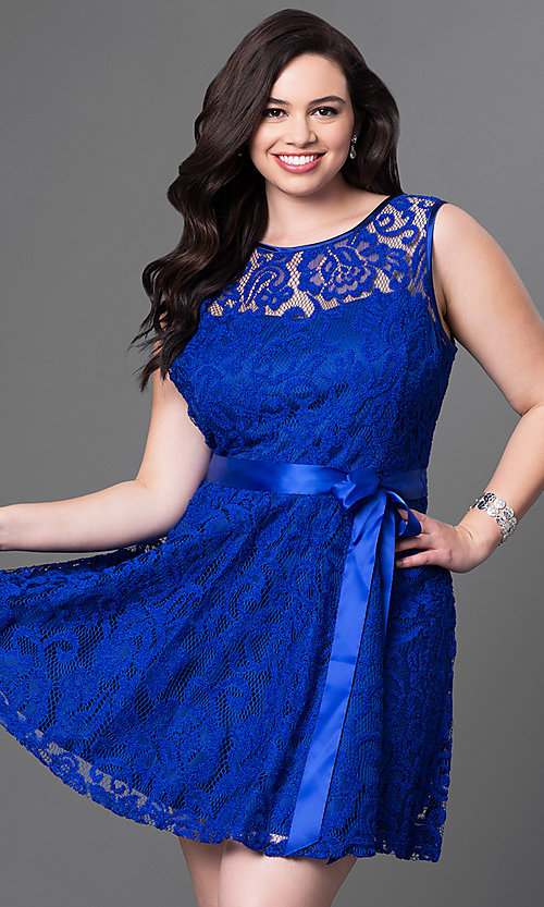 Image of lace plus-size sleeveless party dress with bow. Style: SF-8760P Front Image