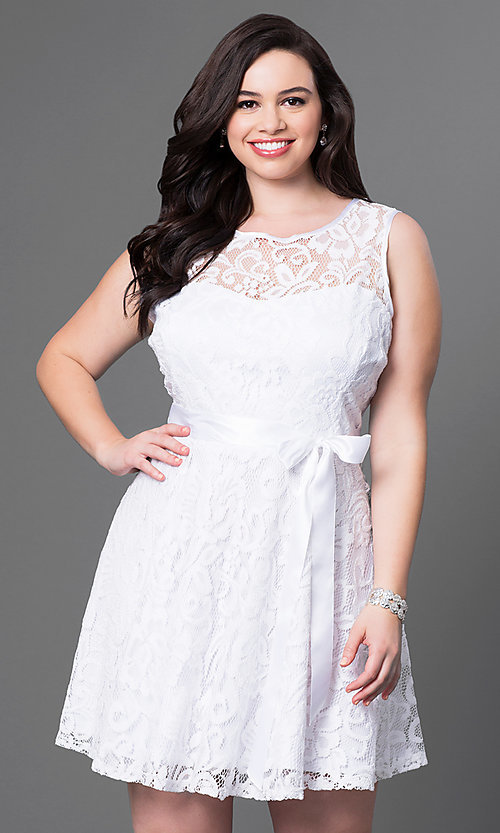 Image of lace plus-size sleeveless party dress with bow. Style: SF-8760P Detail Image 6