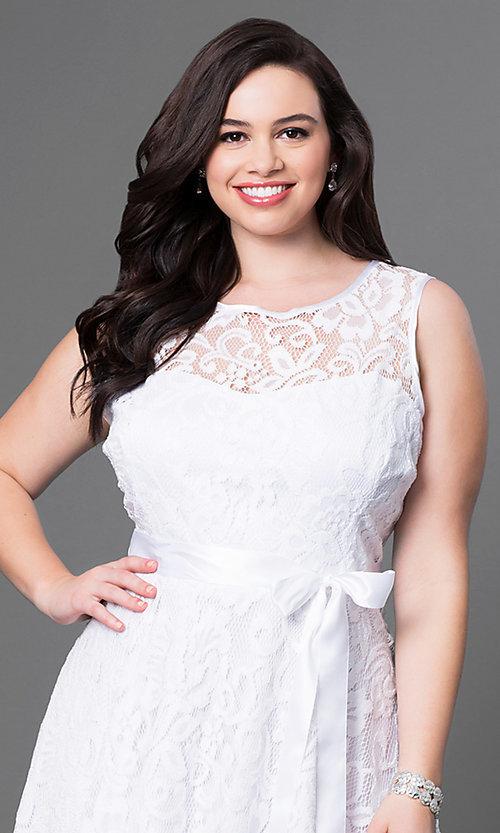Image of lace plus-size sleeveless party dress with bow. Style: SF-8760P Detail Image 7