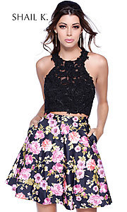 Two-Piece Lace-Applique Floral Print Dress