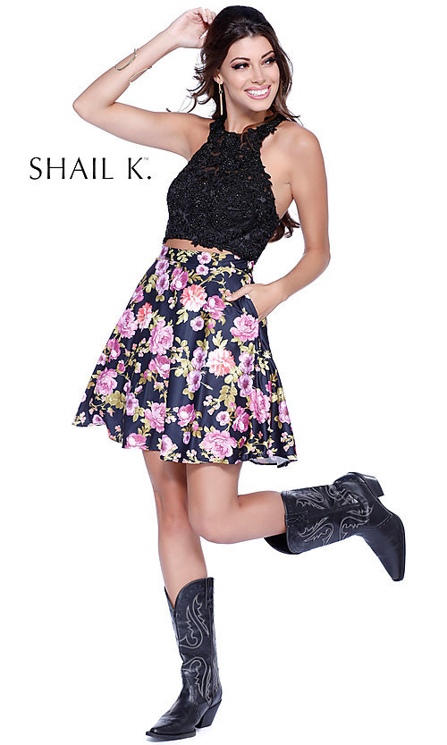 Image of two-piece lace-applique floral print dress.  Style: SK-4023 Detail Image 1