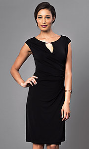 Cap-Sleeve Knee-Length Dress with Ruched Waist