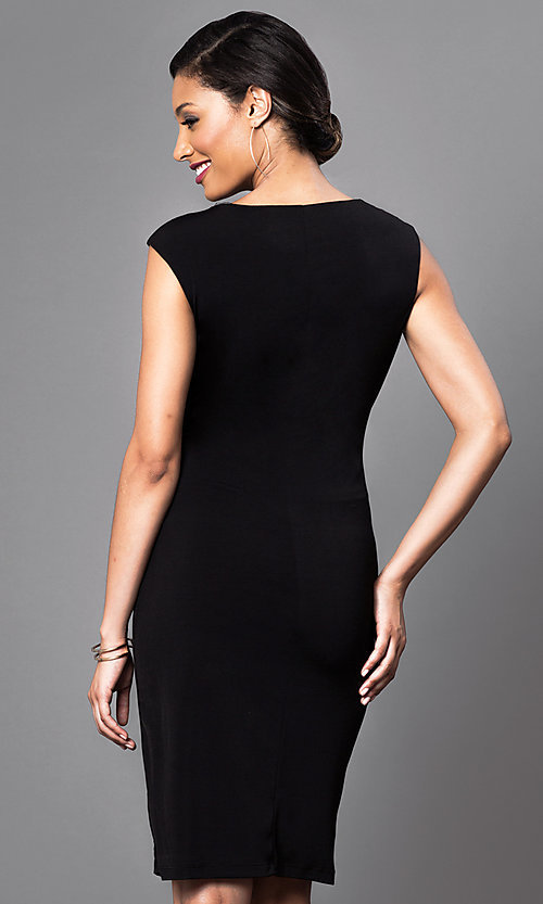 Image of cap-sleeve knee-length dress with ruched waist Style: JU-TI-86321 Back Image