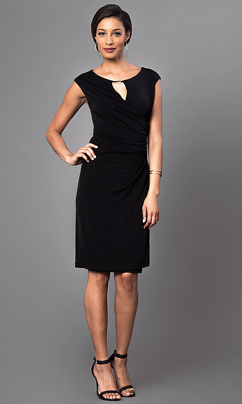 Image of cap-sleeve knee-length dress with ruched waist Style: JU-TI-86321 Detail Image 1