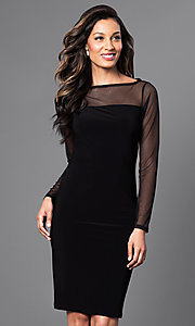 Image of long-sleeve black knee-length Jump cocktail dress. Style: JU-TI-88282 Front Image