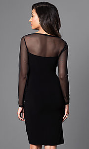 Image of long-sleeve black knee-length Jump cocktail dress. Style: JU-TI-88282 Back Image