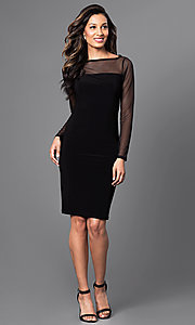 Image of long-sleeve black knee-length Jump cocktail dress. Style: JU-TI-88282 Detail Image 1