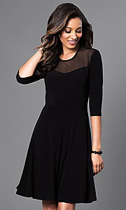 Short Black A-Line Dress with Half Sleeves