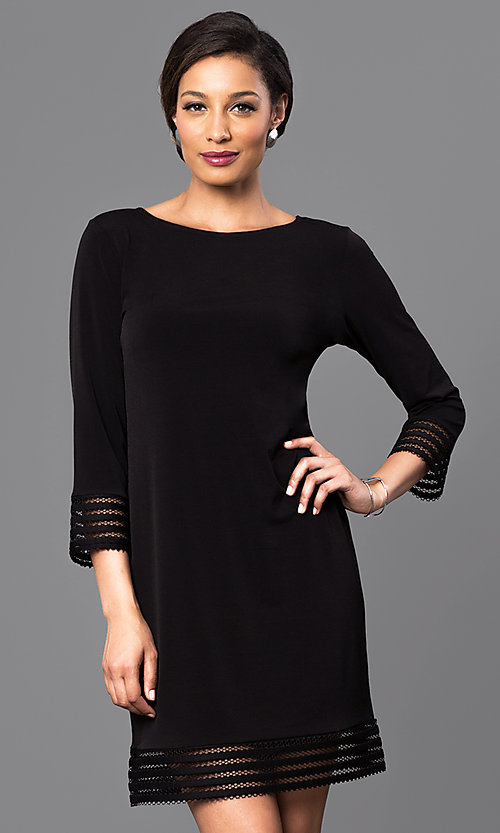 Image of three-quarter length sleeve short black dress. Style: JU-TI-88777 Front Image