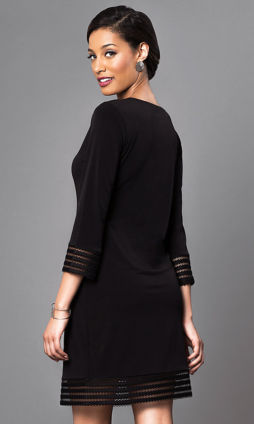 Image of three-quarter length sleeve short black dress. Style: JU-TI-88777 Back Image