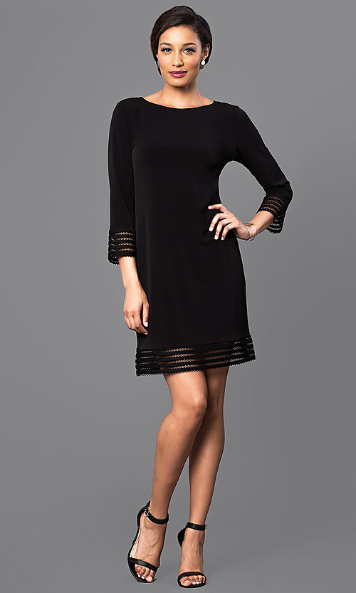 Image of three-quarter length sleeve short black dress. Style: JU-TI-88777 Detail Image 1