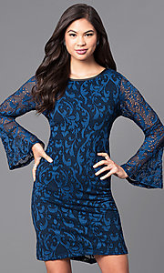 Image of long bell-sleeve blue lace party dress. Style: JU-TI-88872 Front Image