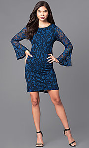Image of long bell-sleeve blue lace party dress. Style: JU-TI-88872 Detail Image 1