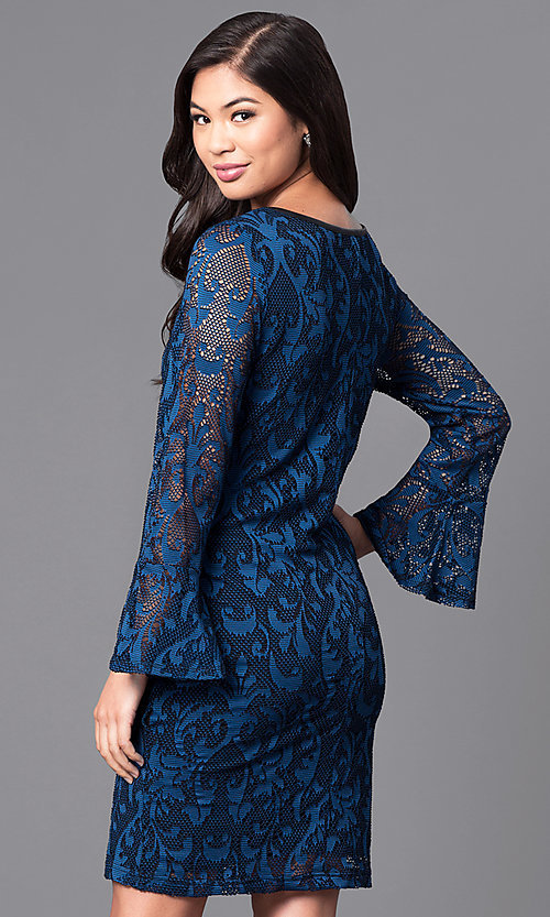 Image of long bell-sleeve blue lace party dress. Style: JU-TI-88872 Back Image
