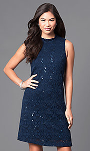 Image of short navy blue sleeveless lace shift party dress. Style: JU-TI-88904 Front Image