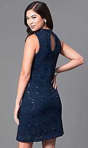 Image of short navy blue sleeveless lace shift party dress. Style: JU-TI-88904 Back Image