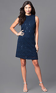 Image of short navy blue sleeveless lace shift party dress. Style: JU-TI-88904 Detail Image 1