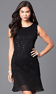 Sleeveless Black Lace and Sequin Holiday Party Dress