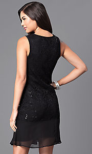 Image of sleeveless black lace and sequin holiday party dress. Style: JU-TI-88603 Back Image