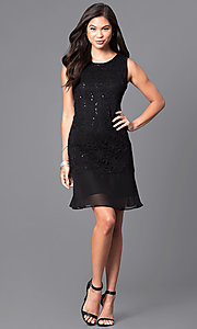Image of sleeveless black lace and sequin holiday party dress. Style: JU-TI-88603 Detail Image 1