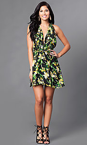 Image of black print casual party dress with low v-neckline. Style: LUX-LD2321 Detail Image 1