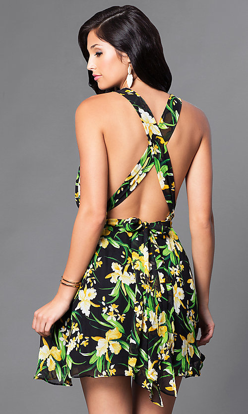 Image of black print casual party dress with low v-neckline. Style: LUX-LD2321 Back Image